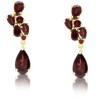 Dolce Giavonna Gold Over Sterling Silver Garnet Teardrop Earrings