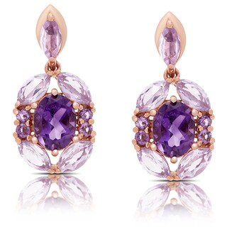 Dolce Giavonna Rose Gold Over Sterling Silver Amethyst Dangle Earrings