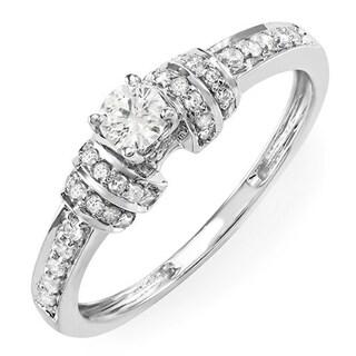 14k White Gold 1/2ct TDW Round Diamond Unique Engagement Bridal Ring (H-I, I1-I2)