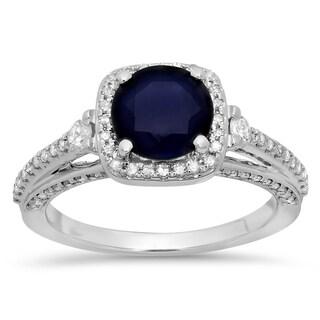 14k White Gold 2 1/10ct TGW Blue Sapphire and Diamond Bridal Ring (H-I, I1-I2)