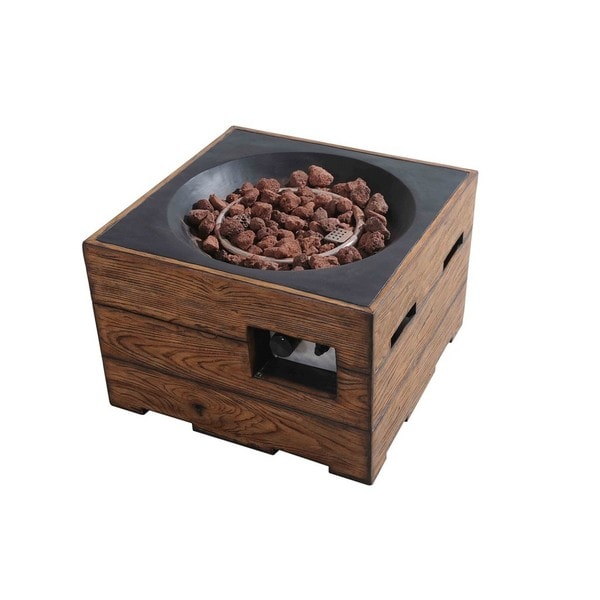 Sunjoy Kent 24 Faux Wood LP Fire Pit, Walnut Finish