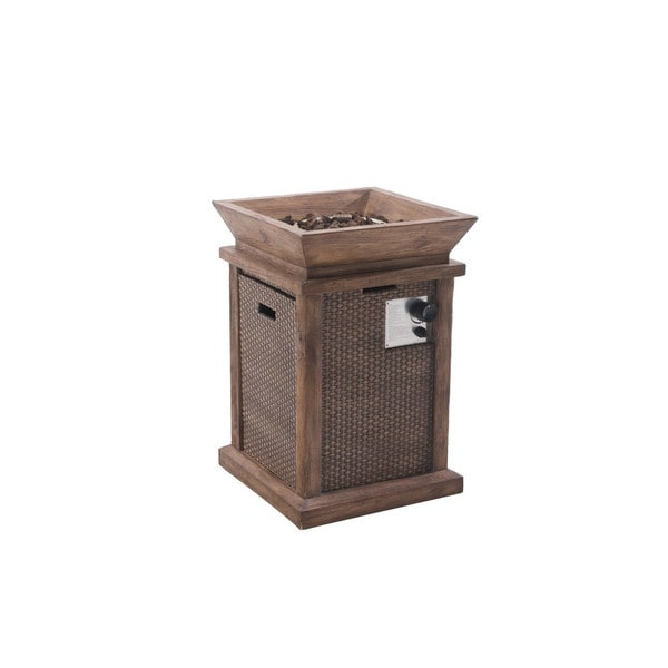 Sunjoy Wausau 29 Faux Wicker and Wood LP Fire Pit, Walnut Finish to Keep the Chill of Wi