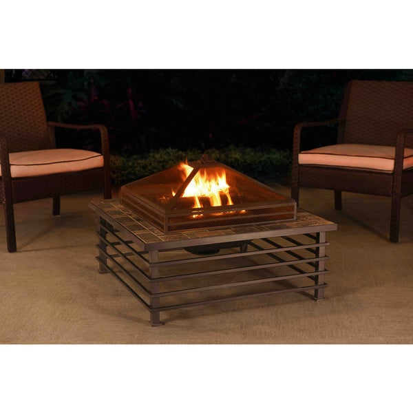 Sunjoy 110501005 Dane 34-inch Slate and Steel Fire Pit