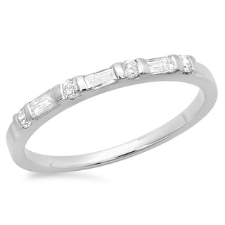 14k Gold 1/3ct TDW Round and Baguette Diamond Wedding Band (H-I, I1-I2)