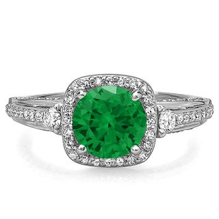14k White Gold 2ct TDW Diamond and Emerald Engagement Halo Bridal Ring (H-I, I1-I2)