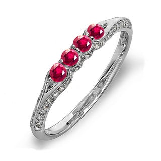 14k White Gold 1/2ct TDW Diamond and Round Ruby Wedding Ring (H-I, I1-I2)