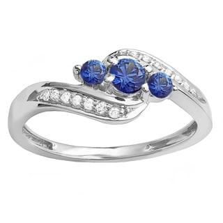 14k White Gold 1/2ct TDW Diamond and Blue Sapphire Engagement 3-stone Bridal Ring (H-I, I1-I2)