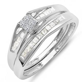 14k White Gold 1/2ct TDW Princess Diamond Bridal Set (H-I, I1-I2)