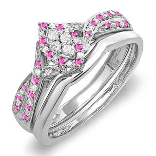 Sterling Silver 1/3ct TDW Diamond and Pink Sapphire Marquise Bridal Engagement Ring Set (I-J, I2-I3)