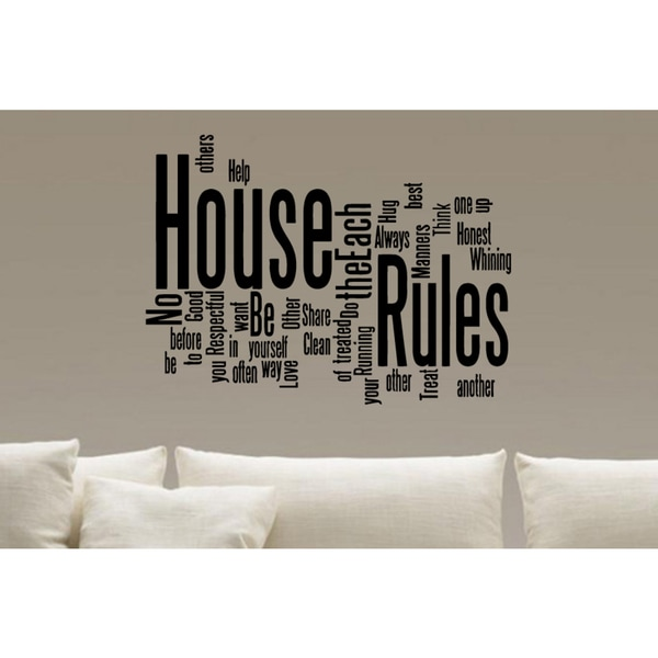 Collage House Rules Wall Art Sticker Decal