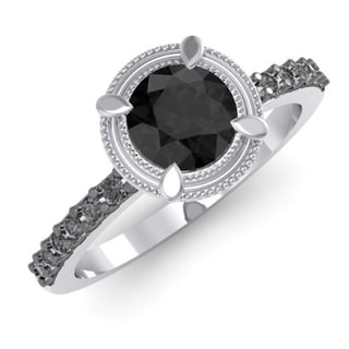 Sterling Silver 1 2/5ct TDW Black Diamond Bridal Solitaire Ring