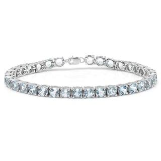 Sterling Silver 10 ct. Real Round Cut Aquamarine Ladies Tennis Bracelet (Blue & I1-I2)