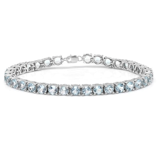 Sterling Silver 10 ct. Real Round Cut Aquamarine Ladies Tennis Bracelet (Blue & I1-I2)