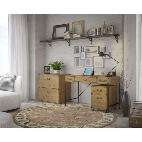 kathy ireland Office by Bush Furniture Ironworks 48-inch Wide Writing Desk, 2-drawer Mobile Pedestal, and Lateral Filing Cabinet