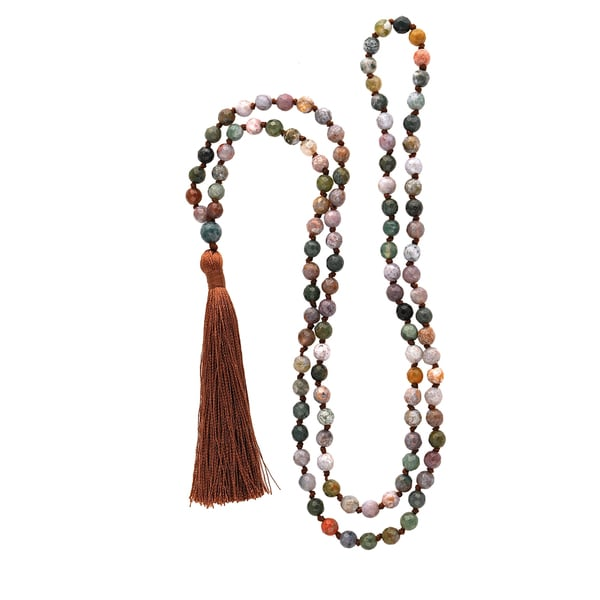 Multi-colored Indian Agate 6mm Mala Necklace