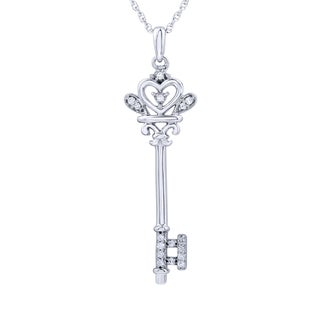 Sterling Silver 1/8ct TDW Diamond Key Pendant (I-J, I2-I3)