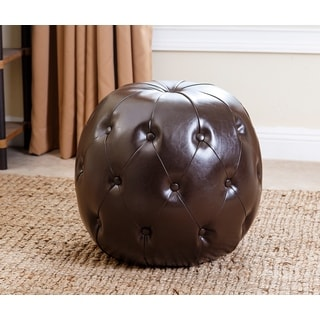 Abbyson Living Dark Brown Grand Tufted Leather Ottoman