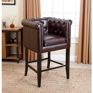 ABBYSON LIVING Chesterfield Dark Brown Leather Barstool