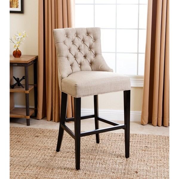 Abbyson Living Tivoli Beige Tufted Upholstered Barstool