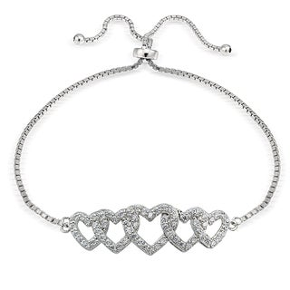 Icz Stonez Silver Cubic Zirconia Intertwining Heart Adjustable Bolo Bracelets
