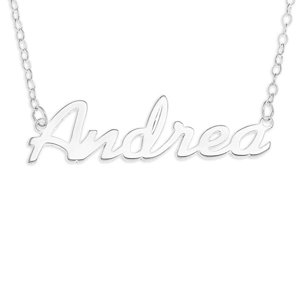 Sterling Silver Trace Chain 'Andrea' Name Pendant