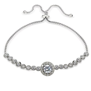 Icz Stonez Sterling Silver Cubic Zirconia Halo Adjustable Bolo Bracelet