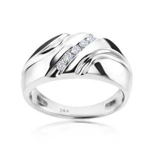 Andrew Charles 14k White Gold Men's 1/5ct TDW Diamond Ring (H-I, SI1-SI2)