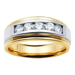 Boston Bay Diamonds 14k Two-tone Gold Men's 3/4ct TDW 5-stone Diamond Wedding Band (H-I, I1-I2)
