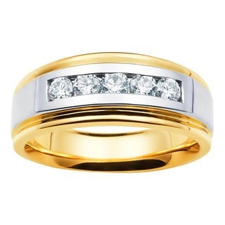 Boston Bay Diamonds 14k Two-tone Gold Men's 1/3ct TDW Diamonds Channel-set Band (H-I, I1-I2)