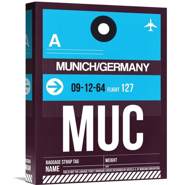 Naxart Studio 'MUC Munich Luggage Tag 1' Stretched Canvas Wall Art