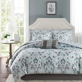 Madison Park Essentials Silvia Blue Complete Bed Set-Sheet Set Included