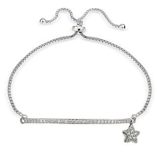 Icz Stonez Silver Cubic Zirconia Star and Bar Adjustable Bolo Bracelet