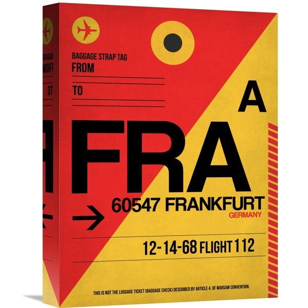 Naxart Studio 'FRA Frankfurt Luggage Tag 2' Stretched Canvas Wall Art