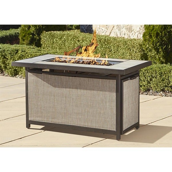 Cosco Outdoor Aluminum Propane Gas Fire Pit Table with Lid
