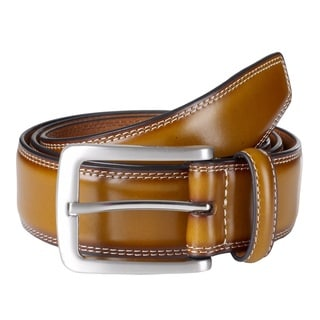 Sportoli Men's Genuine Leather Classic Stitched Uniform Belt