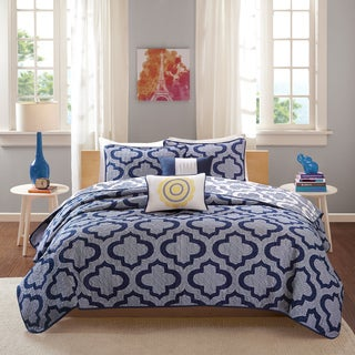 Intelligent Design Elena Navy Reversible 5-piece Coverlet Set