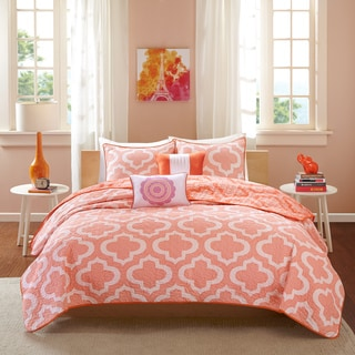 Intelligent Design Elena Coral Reversible 5-piece Coverlet Set
