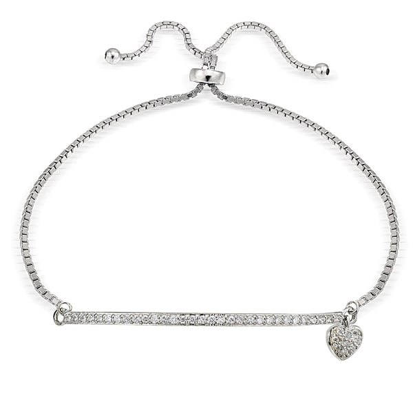 Icz Stonez Silver Cubic Zirconia Heart and Bar Adjustable Bolo Bracelet