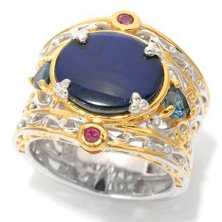 Michael Valitutti Ammolite, London Blue Topaz and Ruby Ring