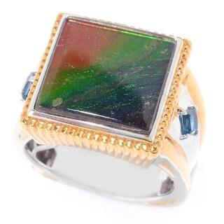 Michael Valitutti Men's Ammolite and London Blue Topaz Ring