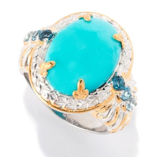 Michael Valitutti Princess Turquoise and London, Sky and Swiss Blue Topaz Ring