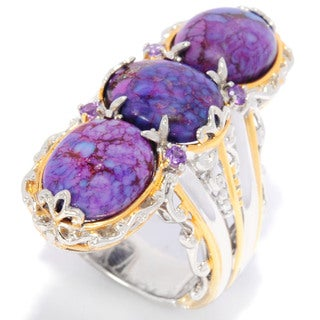 Michael Valitutti Mohave Turquoise and African Amethyst Ring