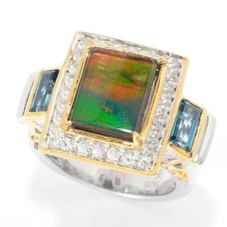 Michael Valitutti Ammolite, London Blue Topaz and White Zircon Ring
