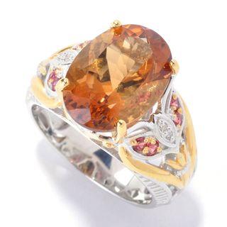 Michael Valitutti Citrine, White Topaz and Dark Orange Sapphire Floral Ring