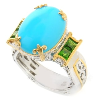 Michael Valitutti Sleeping Beauty Turquoise and Chrome Diopside Ring