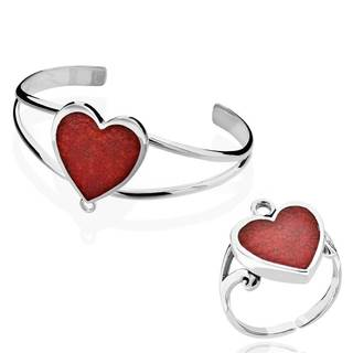 Sterling Silver Coral Heart Cuff Bracelet with Detachable Ring (China)