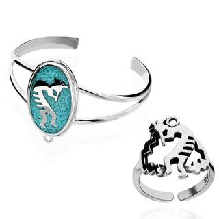Sterling Silver Turquoise Kokopelli Bracelet with Detachable Ring (China)