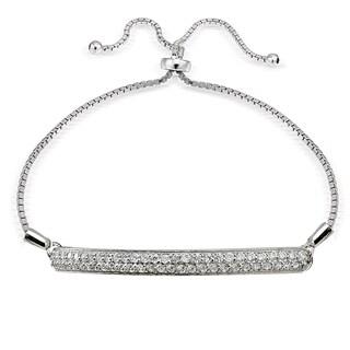 Icz Stonez Silver Cubic Zirconia 2-Row Adjustable Bolo Bracelet