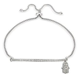 Icz Stonez Silver Cubic Zirconia Hamsa and Bar Adjustable Bolo Bracelet