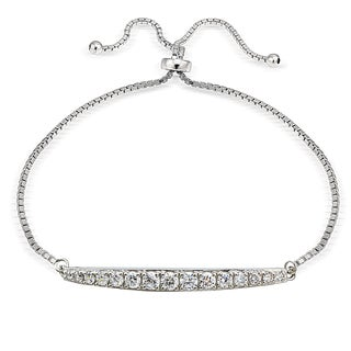 Icz Stonez Silver Cubic Zirconia Graduated Bar Adjustable Bolo Bracelet